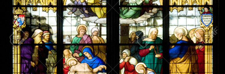 Deposition of Christ on stained glass